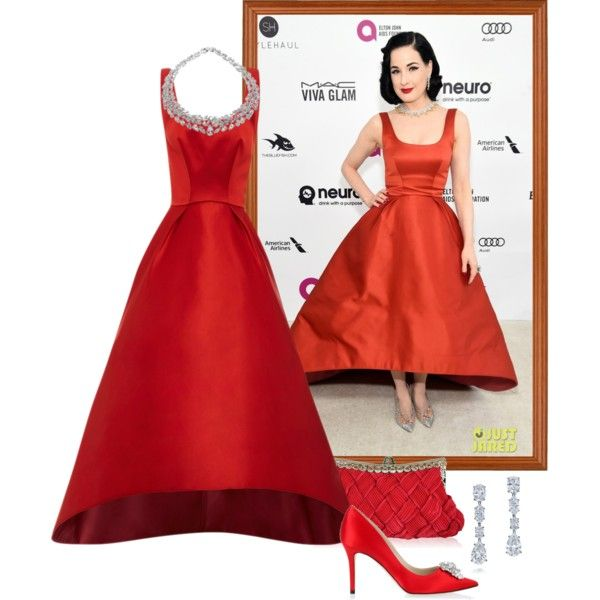 Dita Von Teese – 2016 Elton John AIDS Foundation Oscar Viewing Party. by foreverforbiddenromancefashion on Polyvore featuring Zac Posen, Jimmy Choo and Dita Von Teese