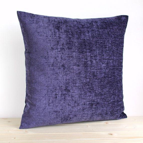 Purple Pillow Cover 16 Inch Plain Cushion Cover Solid Pillow Sham - Chenille Aubergine