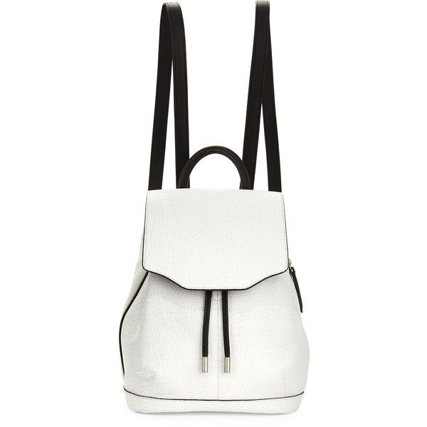 Rag & Bone Mini Pilot Leather Backpack (£425) ❤ liked on Polyvore featuring bags, backpacks, accessories, white crackle, leather knapsack, leather daypack, miniature backpack, rag & bone and leather rucksack