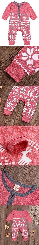 Mini honey Baby Girl Boy Christmas Romper Long Sleeve Bodysuit Snowflake Deer Pajamas Outfit Red 6-12 Months #babygirlpajamas #babyboyoutfits #boyoutfits https://presentbaby.com