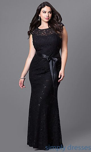 Shop plus-size long black formal dresses at Simply Dresses. Cheap illusion-lace dresses under $100 with sequins, v-backs and tied-ribbon belts.