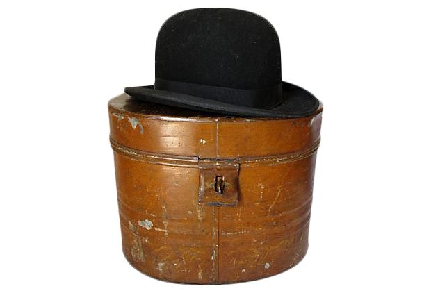 1930s English Gentlemans Hat w/ Metal Box on Chairish.com