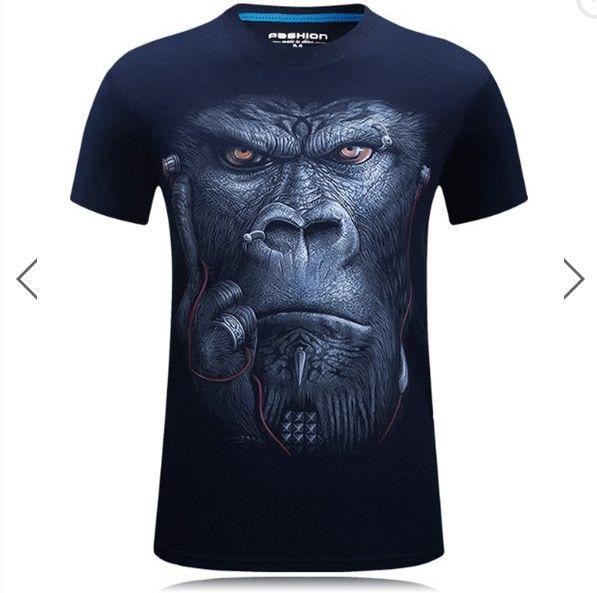 Plus Size S-4XL Summer 3D Animal Pattern Printing Men T-shirt Personality  Short