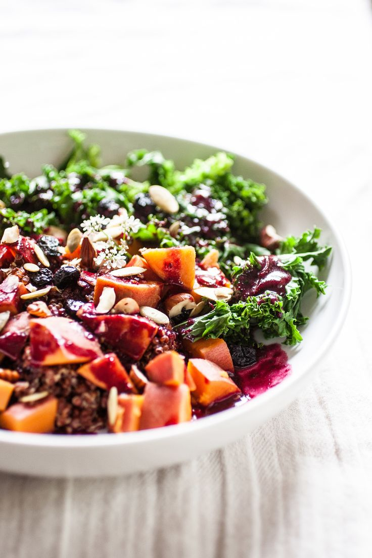 Produce On Parade - Sweet Potato & Blueberry Forest Bowl - An easy and incredibly healthy dinner. Nuts, seeds, and dried berries adorn sweet...