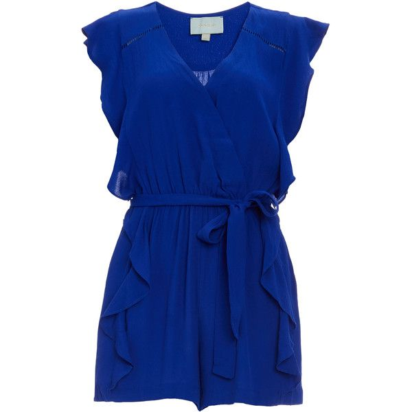 Tie Front Ruffled Romper ($90) ❤ liked on Polyvore featuring jumpsuits, rompers, blue, tie front romper, flounce romper, ruffle rompers, blue rompers and ruffle romper