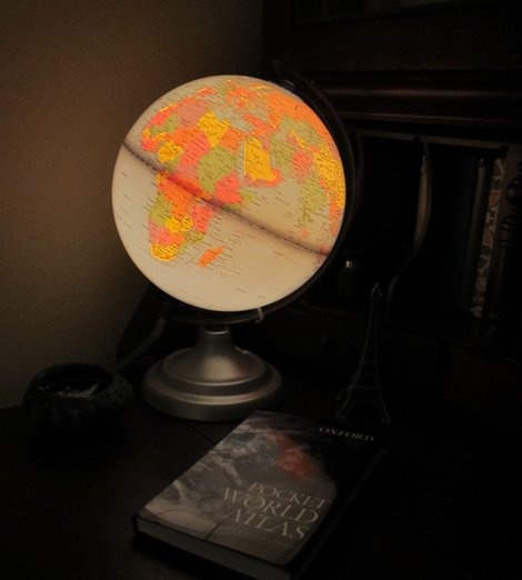 Vintage lighted globe (Story and photo by Cheryl-Anne Millsap)