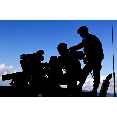 Silhouette of soldiers operating a BGM-71 TOW guided missile system Canvas Art - Stocktrek Images (34 x 23)