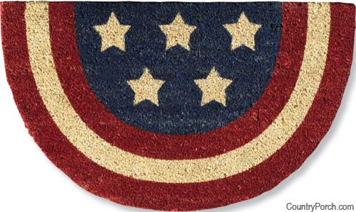 Americana welcome Olde Glory  mat is durable bristles, absorbs moisture, mildew resistant and colorfast.