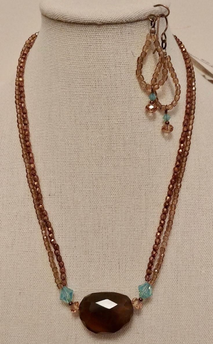 Smokey Quartz, Swarovski and fine Czech glass necklace and earrings set.