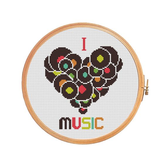 I Love Music  cross stitch pattern  gifts от PatternsCrossStitch