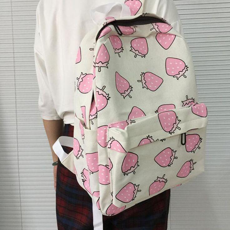 2016 мода женщины холст рюкзаки фрукты печать школьный портфель для подростков…