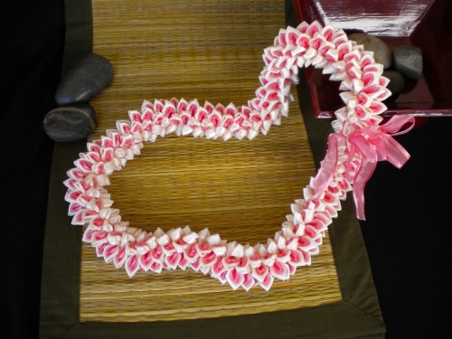 White and pink Plumeria ribbon lei