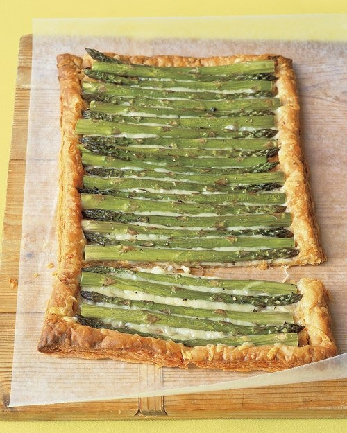Asparagus Gruyere Tart Recipe -- puff pastry makes this Easter brunch side dish a snap to prepare.