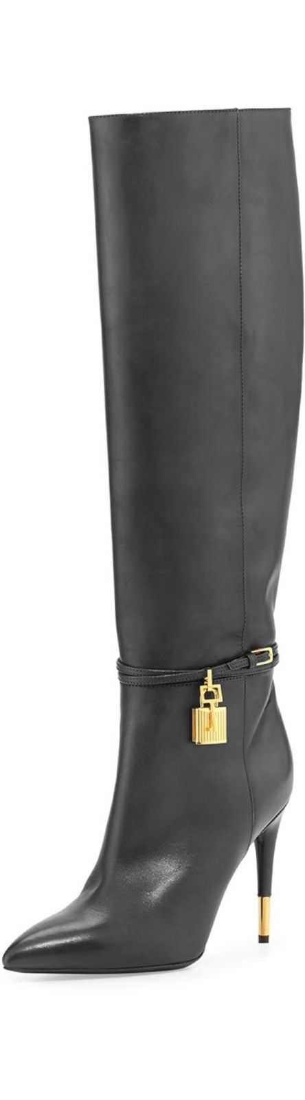 Tom Ford Fabulous AccessoriesTom Ford Padlock Ankle-Wrap Leather Knee Boot, Black (with Tom Ford signature golden hardware)