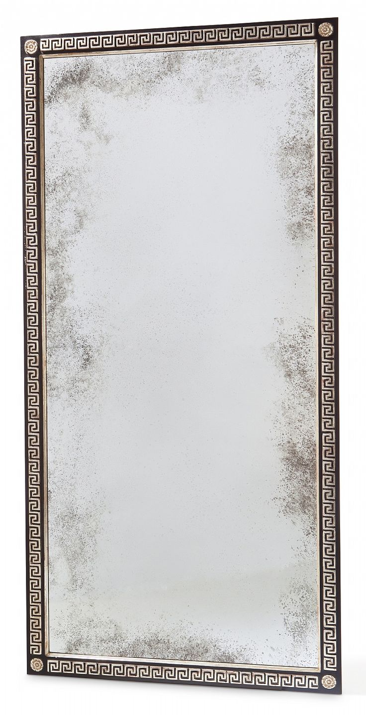 Greek key mirror and white gold on pinterest for White and gold mirror