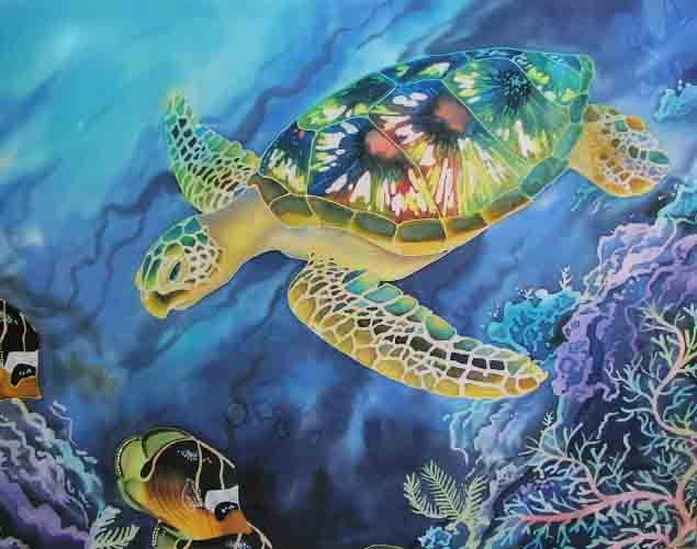 20 best images about art silk painting on pinterest for Turtle fish paint