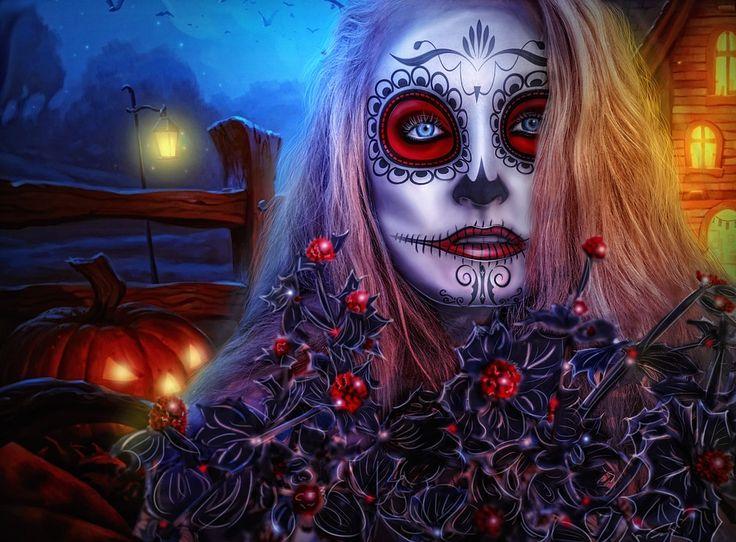 Halloween, Pige, Allehelgensdag, Gotisk, Model, Portræt