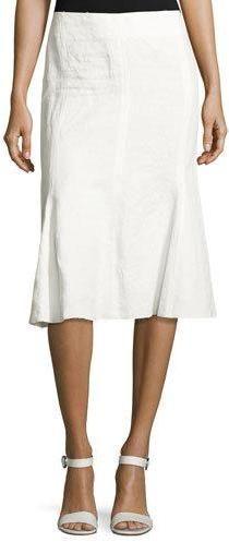 Calvin Klein Collection Linen Trumpet-Back Skirt, White