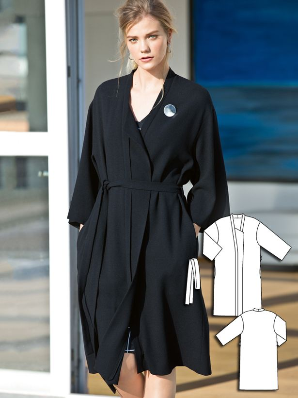 Kimono Coat 04/2016 A well-cut spring coat is an essential basic in any wardrobe. This kimono coat is very on trend and closes with an easy fabric belt.