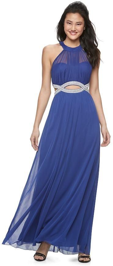 Speechless Juniors' Embellished Halter Maxi Dress