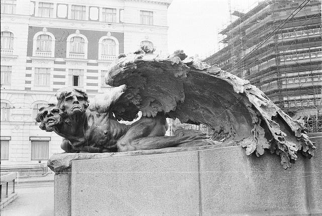 Monument to the historian František Palacký, sculpted by Stanislav  Sucharda (1866-1916), detail, Prague, Czechoslovakia,