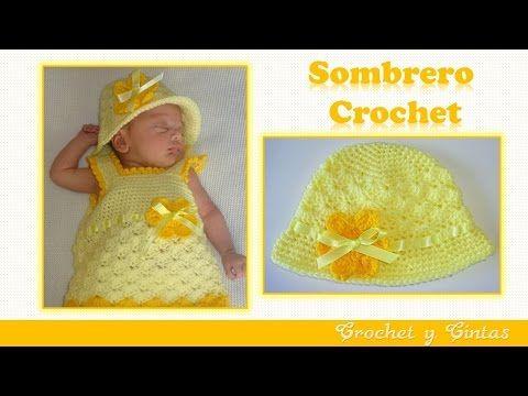 Sombrero crochet verano para niñas con flor y cinta - YouTube