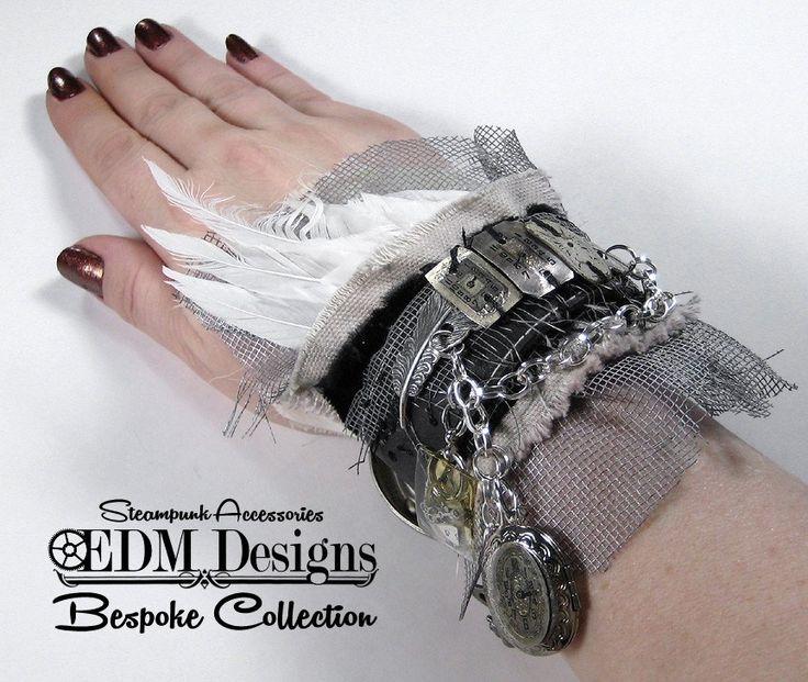 https://flic.kr/p/qSi9gk | Steampunk Wrist Cuff Bespoke Collection textile cuff, mixed media wearable art, industrial wrist cuff, steampunk cuff