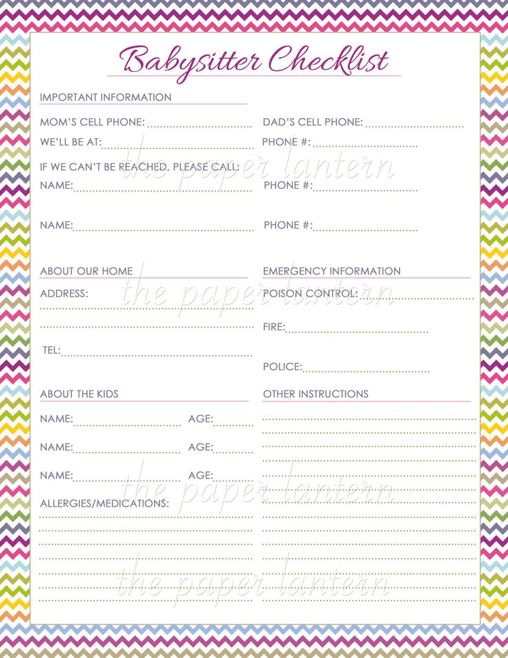 chevron printable babysitter checklist