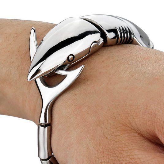 Encontre mais Pulseiras de corrente Informações sobre Grande dos homens pesada pulseira de aço inoxidável Bangle Cuff prata tubarão Biker, de alta qualidade imagem pulseiras, pulseira de aço China Fornecedores, Barato pulseiras e braceletes de Fashion ---stainless steel em Aliexpress.com