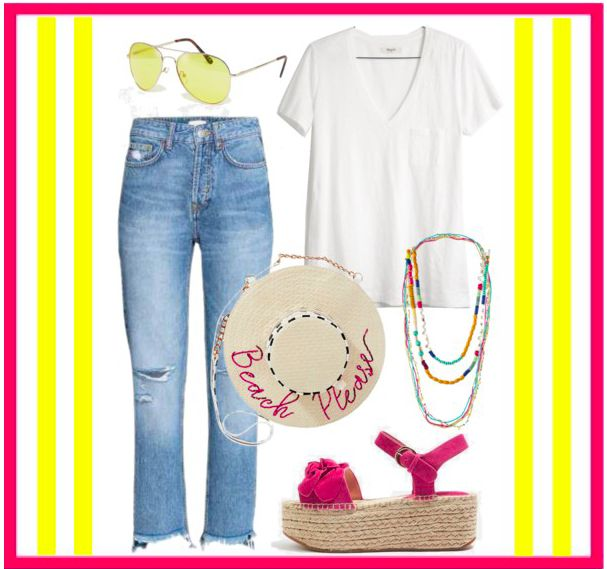 Colorful PINK Espadrille Outfit for Perfect Summer Style | White Tee & Jeans Look | A (Blank) Space