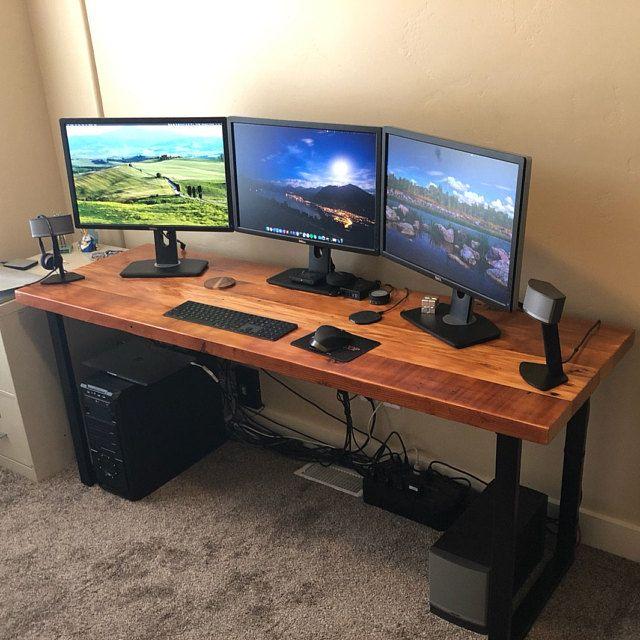 Reclaimed Wood Desk Industrial Desk Office Desk Rustic Etsy In 2020 Diy Computer Desk Home Office Setup Reclaimed Wood Desk