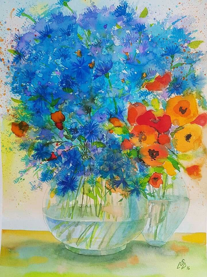 """Blue and Orange  2"",watercolor by Gabriela Calinoiu,romanian painter. www.picturiflori.wordpress.com"