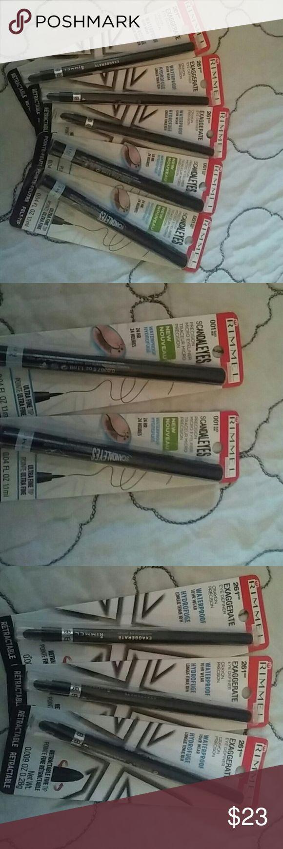 RIMMEL eyeliner 3 black noir waterproof retractable fine tip EXAGGERATE eyeliner and 2 ultra fine tip percision SCANDLE EYES waterproof eyeliners Makeup Eyeliner