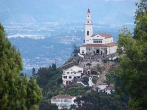 White chapel at the peak of Monserrate on top of Bogota