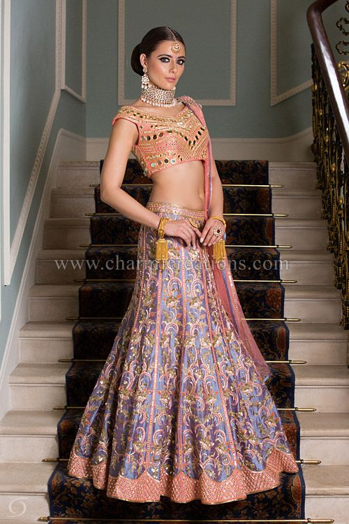 Reception Gown - Two-tone lilac and peach lengha with mirrored off shoulder peach blouse. Suitable for the Indian wedding reception