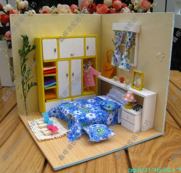 Wooden Dollhouse Miniature Scene DIY Kits BedRoom NICE