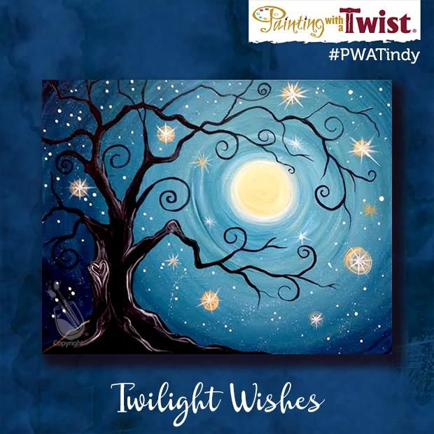 """Twilight Wishes"" is on the easel Sat, Nov. 26th. It is always a fun class full of gorgeous tree and bright moons. And we are adding some bling! For just $5 more, you can add some real lights! Join us Painting with a Twist – Indy! ©Painting with a Twist."