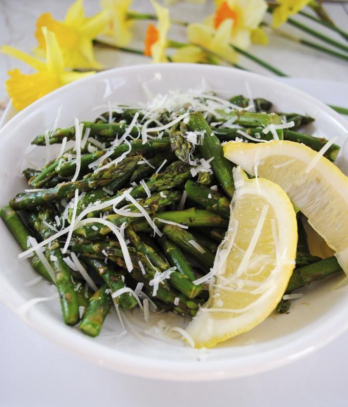 Sauteed Asparagus with Garlic, Lemon and Parmesan Cheese