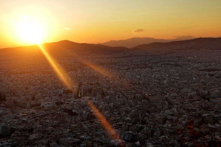 Sunset over Athens.