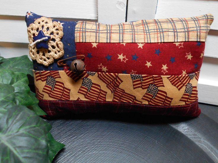 Primitive  Americana Patriotic Flag Pincushion Pillow Bow Tuck #Americana