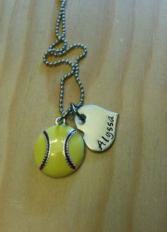 Hand Stamped Necklace Softball Necklace or by BlackWolfDesigns21