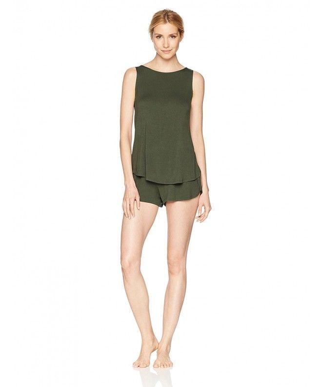 884b22238f9b Women s Sleeveless Split Back Top and Short Pajama Set - Forest ...