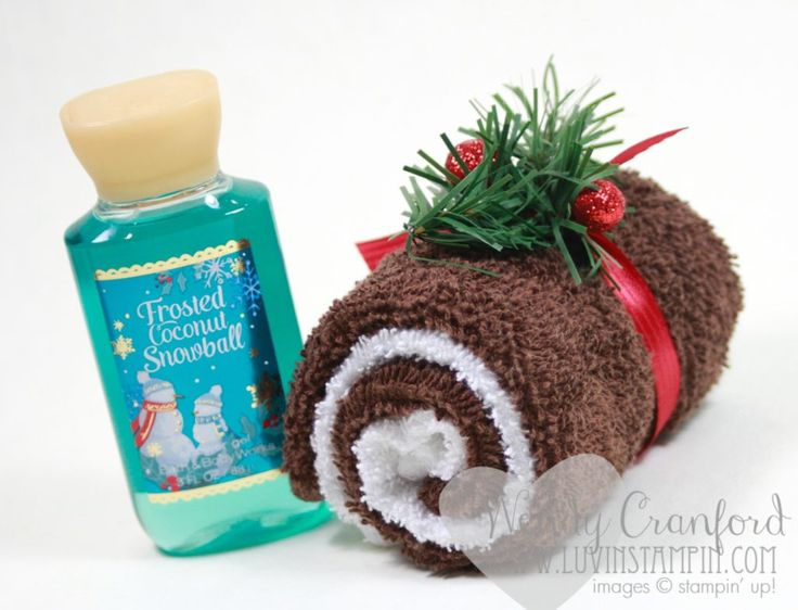 How to make a swiss jelly roll using wash cloths. Great gift for Christmas time. Wendy Cranford www.luvinstampin.com