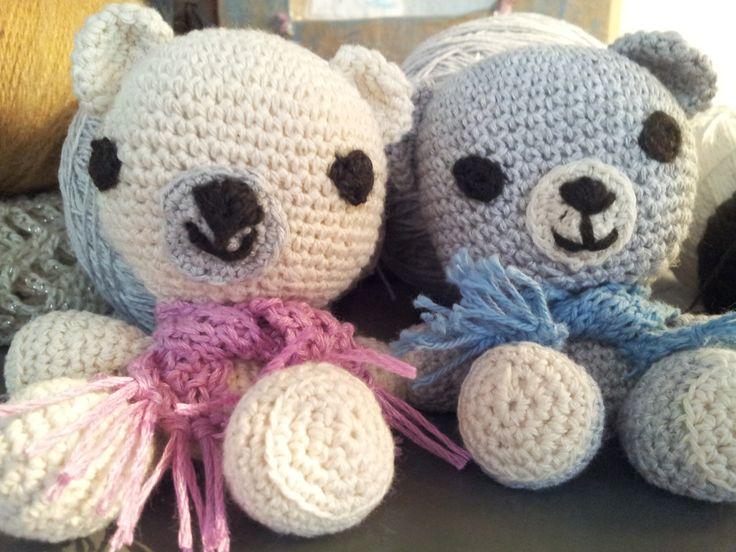 Ositos en crochet para armar sets con mantas de bb.