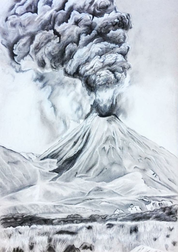 Ngauruhoe volcano, New Zealand, pencil drawing - by Josephine Doege