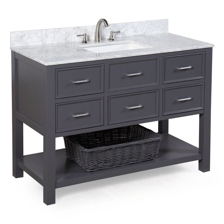Features:  -Authentic carrara marble countertop.  -Soft-close function.  Style: -Contemporary.  Base Finish: -Charcoal gray.  Top Finish: -Carrara marble.  Hardware Finish: -Brushed nickel.  Base Mate