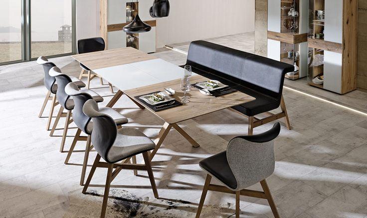 Möbel A. Karmann Wemding | Markenshops | V-Solid | Voglauer V-Solid Essgruppe | günstiger, Voglauer V-Solid Essgruppe, Wildeiche,Optiwhite - Loden, Voglauer