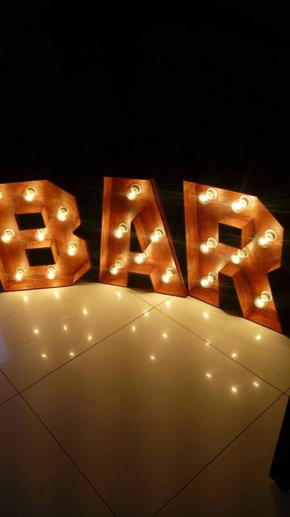 Bar Sign Lights Marquee Light Up Letters Bar For Wedding Beer Cafe Letters Eat Decor Wood Letters Large Lighted Marquee Letters Wedding Lights Wedding Initials
