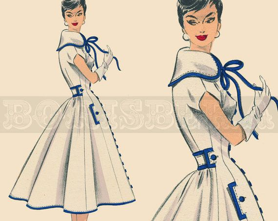 vintage French DRESS/COAT sewing pattern (50s) (PDF)