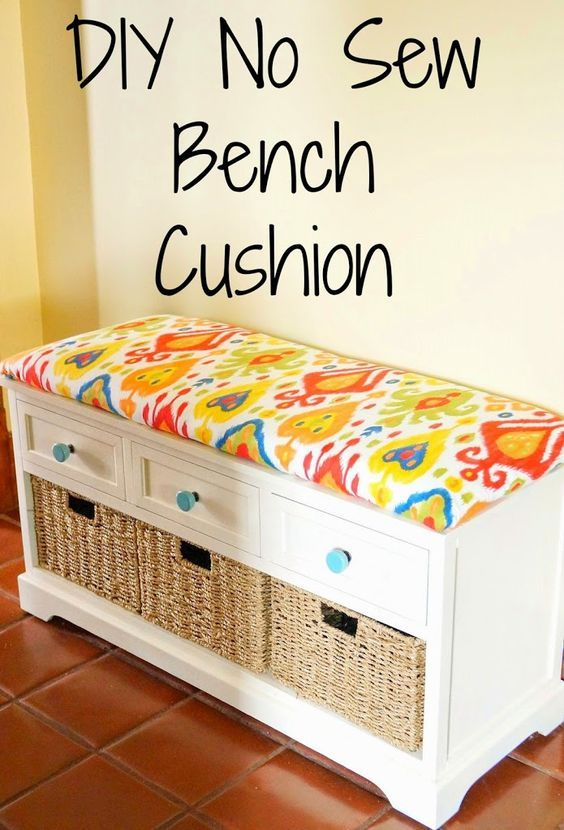 DIY No Sew Bench Cushion -- Here's one option using plywood, which requires a staple gun